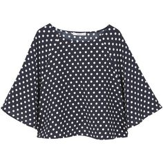 Polka-Dot Blouse (€34) ❤ liked on Polyvore featuring tops, blouses, shirts, t-shirts, polka dot blouse, dot blouse, polka dot shirts, flared sleeve blouse and flared sleeve top