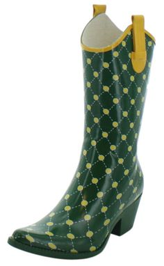 Green and yellow polka dot cowboy rainboots. This is just too perfect for walking on the Baylor campus on a rainy day!