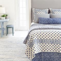 Sleeping in never felt so good with this stunning paisley-print quilt paired with the softest matelassé coverlet in a cool blue, plus matching shams and an ink-hued decorative pillow and bed skirt. Shop our selection of null from home furnishings designer Annie Selke at Pine Cone Hill today.