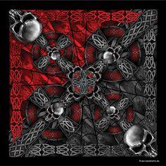 Unisex Accessories Celtic Cross And Gothic Skulls Biker Bandana Biker Doo Rag Art Et Illustration, Illustrations, Metallica, Pop Art, Tarot, Biker Bandanas, Piercing, Street Art, Bandana Design