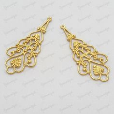 8 Antiqued Gold Plated Metal Filigree Drop Connector by yooounique on Etsy Antique Gold, Filigree, Plating, Jewelry Making, Base, Drop, Antiques, Metal, Earrings
