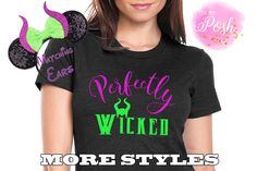 Disney Halloween Shirts,Perfectly Wicked Shirt,Disney Maleficent Shirt,Disney Halloween Ears,Disney Shirt, Halloween Tank,Maleficent Ears by OhMyPoshGifts on Etsy Disney Halloween Ears, Family Halloween, Scary Halloween, Halloween Party, Disney Shirts For Family, Disney Family, Family Shirts, Disney Villain Shirt, Disney Birthday Shirt