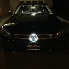 Illuminated star option for the new Mercedes-Benz cars. C300 4matic with the Burmester premium sound system, panoramic sunroof, and so much more. #luxurycar