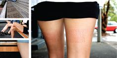 Fashion chain Superette did this great ambient to promote the sale on their short shorts. If women sat down on park benches while wearing short shorts they were spreading the campaign on their legs! Simply by imprinting the message from the benches on their skin.