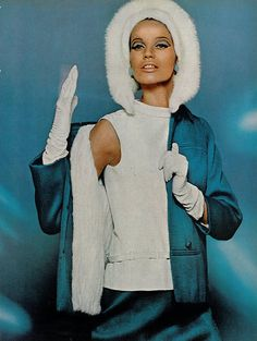 Veruschka in a bright blue wool suit lined in white mink by David Kidd for Jablow, photo by Bert Stern for Vogue 1965