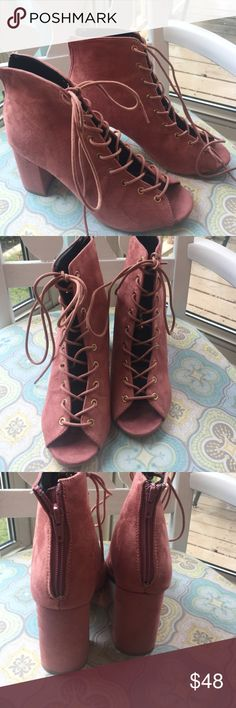 Blush Lace Up Booties Beautiful lace Up Booties. Faux suede in dark blush! Zip up heel. Block heel, super hip this season! 3.5 in.  Comes with box! Size 7 Shoe Republic LA Shoes Lace Up Boots