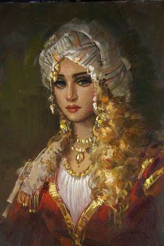 Beauty will save Turkish artist Ramzi Taskiran - Beauty will save Portrait Photos, Portrait Art, Santa Sara, Turkish Art, Historical Art, Arabian Nights, Woman Painting, Oeuvre D'art, Female Art