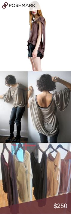NEW! Space Junk Asymmetrical Draped Top From the Condemned to Be Free handmade collection, designer Christine Gabriele created this style with one piece of high quality cotton jersey fabric, draping it on the form, then adding well-placed Japanese knit trim.  Customized versions were worn by Padma Lakshmi and Patti Hanson.   Features: * 100% cotton jersey with nylon knit trim * One size (fits U.S. sizes 0 to 10) * Handmade in NYC  Colors available: Tan, Light Grey, Plum Grey, Black, and…