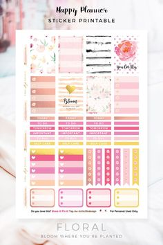 FREE Floral Sticker Printable by Chic Life Design [newsletter subscription required]
