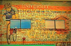 Mural on the side of University Bicycles, Boulder