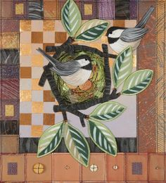 Chickadee Pair, painted quilt