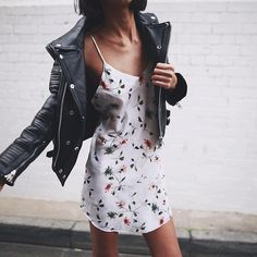This @_aje_ leather jacket with vintage dress from @gluestore #love