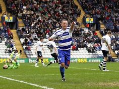 Heidar Helguson scores an away goal for QPR on their way to the Championship title in the 2011/12 season