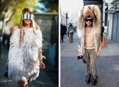 Left: The Vogue Japan editor-at-large Anna Dello Russo in an Alexander McQueen dress and sunglasses. Right: Bryanboy, a blogger, in Maison Martin Margiela headwear.