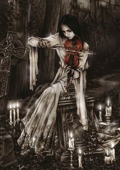 Another Sad Violin, I like the image.  It looks cool, the candles and the graveyard.  It is fitting to me.