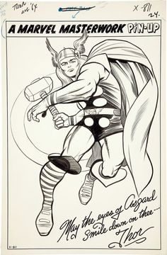 Original art by Jack Kirby (pencils) and Chic Stone (inks) for one of the most iconic Thor drawings of all time, from Journey Into Mystery #110, published by Marvel Comics, November 1964.