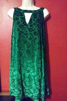 NWT Just Found Plus Size Women's Shift Dress 3X Sleeveless Rich Green Brocade #JustFound #ShiftDress