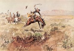 Bronco Busting by Charles Marion Russell