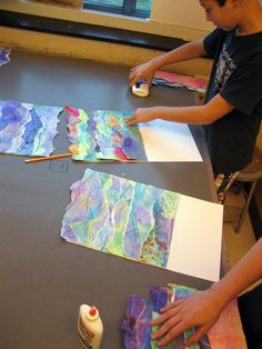 These Watercolor Seascape Collages are a great inspiration for background ideas for lots of media - collage, mixed media, lettering, printmaking, etc! Art Education Projects, School Art Projects, Group Art Projects, Kindergarten Art, Preschool Art, Kids Art Class, Art For Kids, Art Lessons For Kids, Middle School Art
