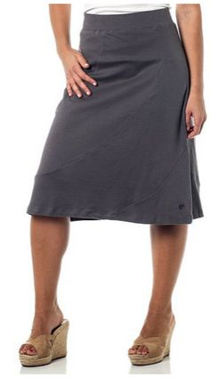 A-Lined Mid Length Skirt with Elastic Waistband, modest, casual style.  I like that you can dress this up with heels and a nice top, or wear it casual with sandals and a simple tshirt.  Great spring or summer fashion! - A Thrifty Mom