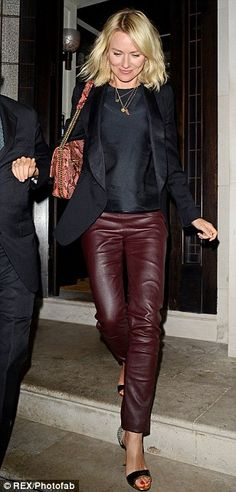 Lady of leather: Naomi Watts dines with Sean Penn at London restaurant