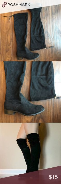 Black boots Super cute for fall! Slightly over the knee. Worn once in great condition. Adjustable at the top in order to tighten and loosen. Shoes Over the Knee Boots