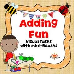Addition with Mini-beasts for students with limited verbal skills.Lets learn to add with visuals to answer.   A colourful bug counting and adding workbook with printed numbers to print out as cut and stick worksheets or laminate as an interactive workbook.