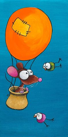 Mouse In His Hot Air Balloon, by Lucia Stewart