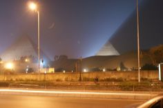 Pyramids at night (from near our hotel)  - Our Egyptian adventure 2008