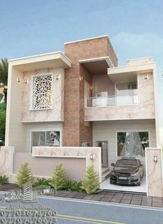86 Architectural Design Pictures for Residential Buildings - Engineering Basic Modern Exterior House Designs, Modern House Facades, Dream House Exterior, Modern House Plans, Modern House Design, Exterior Design, Facade Design, 2 Storey House Design, Bungalow House Design