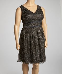 Take a look at this Gold V-Neck Empire Waist Dress - Women & Plus by Jessica Simpson Collection on #zulily today!