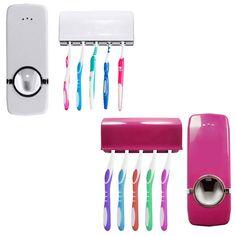Distributore automatico di Dentifricio + 5 Spazzolino Holder Set Montaggio A Parete Del Basamento spazzolino da denti Famiglia imposta ZX071