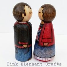 Lovely gift for a newly engaged couple - handmade to order, bespoke wooden peg dolls that represent the lovely, loved-up couple. Details added using the art of pyrography. Lovingly created in beautiful Wales, Uk.