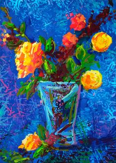 """Yellow Flowers"" Original Acrylic Still life painted by Elena Fradkin"