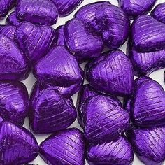 100 purple foil chocolate love hearts wedding favours