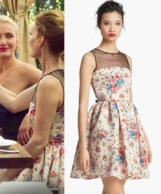 The Other Woman movie: Kate King's (Leslie Mann) Red Valentino Flower & Polka Dot Dress with sheer neckline #getthelook #lesliemann #theotherwoman