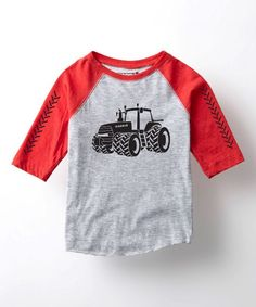 Athletic Heather & Red Magnum Raglan Tee - Toddler & Kids