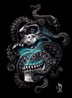 Release the kraken in you😎 Kraken Art, Kraken Tattoo, Science Illustration, Crane, Steampunk Animals, Totenkopf Tattoos, Octopus Tattoos, Skull Painting, Skull And Bones