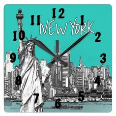 The Statue of Liberty New York one of America's most famous images shown here on a teal background and a sketched look making for a cool modern design, #new #york #america #american #statue #of #liberty #sculptures #famous #teal #blue #sketch #cool #icons #sketched #modern #travel #clock #clocks #wall #decor #home #decorative #time #kitchen