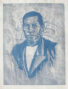 Luis Miguel Valdes Benito Juarez Grabado en Madera