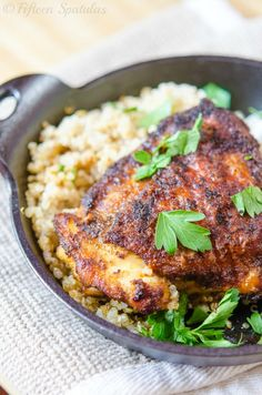 Crispy Spiced Rubbed Chicken Thighs...great for a quick & easy weeknight meal! #recipe #weeknightmeals #chicken
