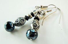 Silver Black Gray Beaded Earrings Bead Earrings Dangle by mscenna