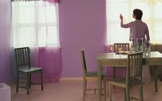 A fabulous #pink #dining room, painted in #Tikkurila products