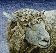 (except for the framing) Woolen Tales Rug Art: Finished! (except for the framing) Rug Hooking Designs, Rug Hooking Patterns, Rug Patterns, Sheep Rug, Sheep Fabric, Sheep Crafts, Punch Needle Patterns, Hand Hooked Rugs, Hook Punch
