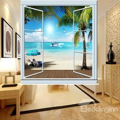 Peaceful Beach out of the Window Printing Blackout Roller Shades Roller Shades, Roller Blinds, Hunter Douglas Blinds, House Blinds, Custom Shades, Kids Curtains, Blackout Curtains, White Flowers, Wall Murals