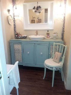 Shabby Chic Bathroom Vanity with Lace Features #shabbychicdresserswithmirror