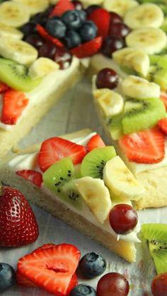 Fruit Recipes, Vegan Recipes Easy, Dessert Recipes, Cooking Recipes, Pizza Recipes, Food Network Recipes, Sugar Cookie Dough, Cookie Crust, Healthy Foods