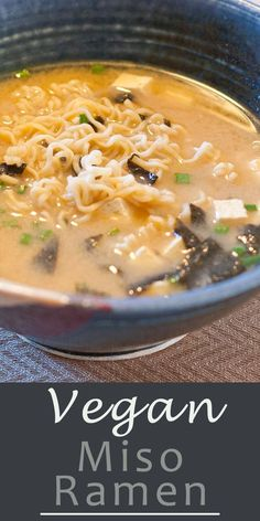 Vegan Miso Ramen - Used seaweed broth. Added lettuce and mushrooms. Add the miso directly to the boiling soup at the end. Added onion powder and black pepper to the indiv bowl. Ramen Recipes, Asian Recipes, Whole Food Recipes, Vegetarian Recipes, Cooking Recipes, Healthy Recipes, Healthy Food, Vegan Ramen, Vegan Soups