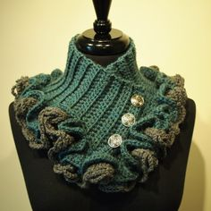 Edging could be done in Ruffle yarn      Steampunk Victorian Crochet Ruffled Collar Scarf. $49.00, via Etsy.