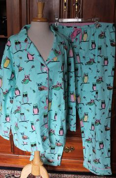 3e5abed877f PJ Salvage Womens Plus Size 1x Light Blue Owl Flannel Pajamas New